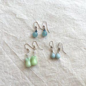 Minimalist Gemstone Earrings Set
